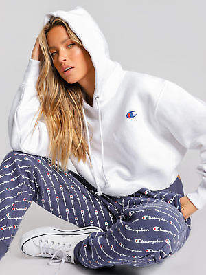 Champion New Reverse Weave Cropped Cut Off Hoodie In White Womens Hoodies