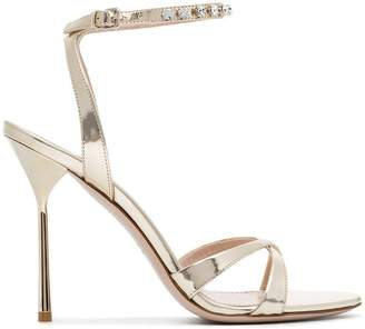 Miu Miu gold metallic crystal embellished 105 leather sandals