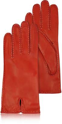 Forzieri Women's Stitched Cashmere Lined Red Italian Leather Gloves