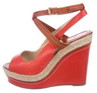 Paloma Barceló Leather Platform Wedge Sandals
