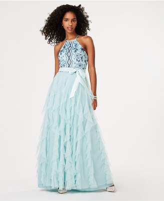 Teeze Me Juniors' Embroidered-Top Layered-Skirt Gown