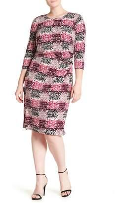 Eliza J Print Jersey Side Tuck Sheath Dress (Plus Size)