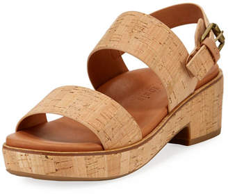 Gentle Souls Talia Cork Flatform City Sandals, Neutral