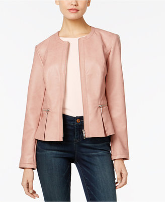 INC International Concepts Faux-Leather Peplum Jacket, Only at Macy's $99.50 thestylecure.com