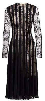 Oscar de la Renta Women's Long-Sleeve Lace Pintuck Dress
