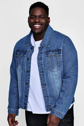 boohoo Big And Tall Overdyed Washed Denim Jacket