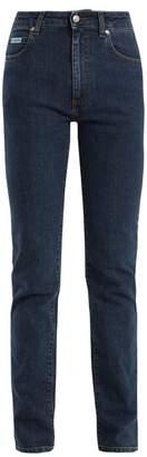 ALEXACHUNG High Rise Straight Leg Jeans - Womens - Indigo