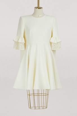 Alexander McQueen Wool cape back dress