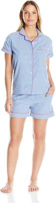 Bottoms Out Women's Short Sleeve and Short Pant Chambray Sleep Set