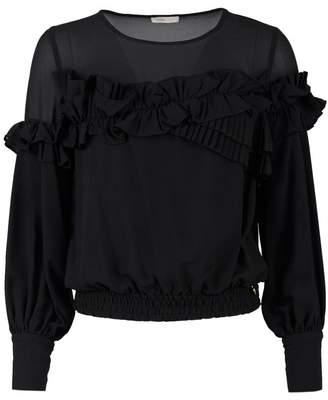 Fracomina Chiffon Ruffled Blouse Colour: BLACK, Size: SMALL