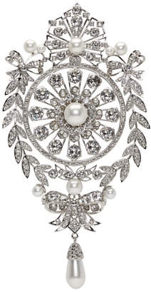 Givenchy Silver and Pearl Classic Strass Brooch