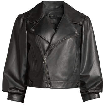 Alice + Olivia Arlo Gathered-Sleeve Leather Moto Jacket