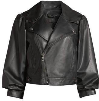 Alice + Olivia Arlo Gathered-Sleeve Leather Moto Jacket