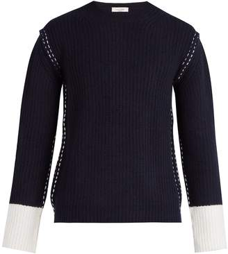 Valentino Contrast cuff wool and cashmere knit sweater