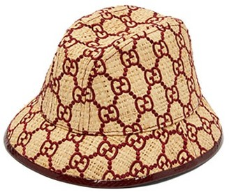Gucci Snakeskin Trimmed Gg Embroidered Raffia Fedora - Womens - Burgundy