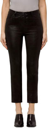 J Brand Ruby High-Rise Cropped Cigarette In Black Leather