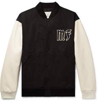 Moncler Genius - 7 Fragment Appliqued Cotton and Leather Bomber Jacket - Men - Black
