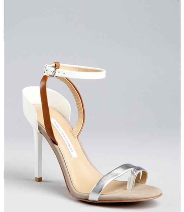 Diane von Furstenberg white leather 'Rozi' sandals