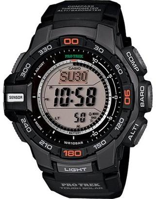 Casio Men's Pro Trek Solar Powered Triple-Sensor Watch with Black Resin Strap