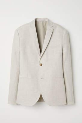 H&M Slim Fit Linen Blazer - White