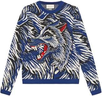 Gucci Wolf intarsia wool sweater
