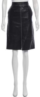 Lafayette 148 Leather Knee-Length Skirt
