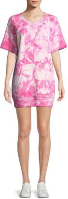 Michael Kors Short-Sleeve Tie-Dye Cashmere Sweatshirt Dress