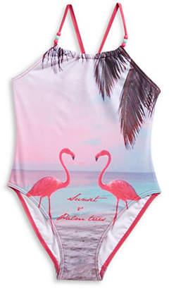 Name It One-Piece Flamingo Crisscross Back Swimsuit