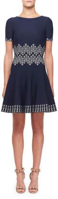 Alaia Coupole Print Corseted Dress
