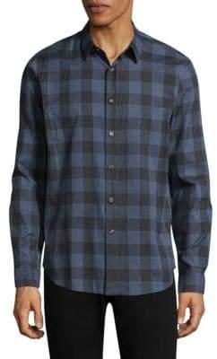 Theory Plaid Cotton Casual Button-Down Shirt