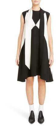 Givenchy Bicolor Satin-Back Crepe Scarf Collar Dress