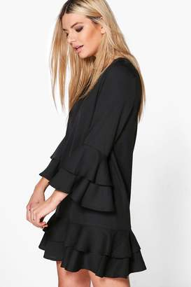 boohoo Ruffle Tiered Shift Dress