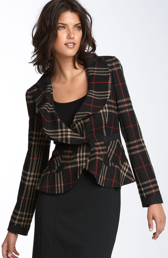 DKNYC Plaid Ruffle Jacket