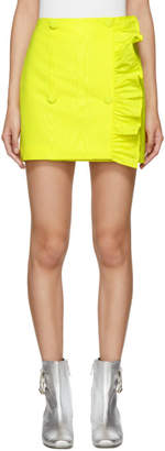 MSGM Yellow Ruffles Side Buttons Miniskirt