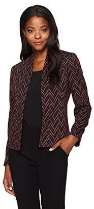 Kasper Women's Zig Zag Knit Jacquard Flyaway Jacket