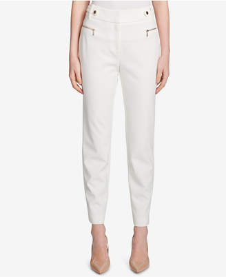Calvin Klein Zippered Moto Straight-Leg Pants