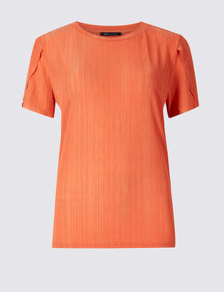 M&S Collection Textured Round Neck Short Sleeve Top