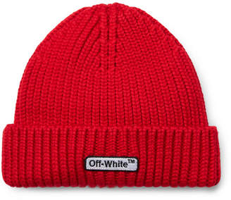 Off-White Logo-Embroidered Ribbed Wool Beanie