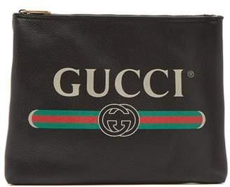 Gucci Logo Print Medium Leather Pouch - Mens - Black