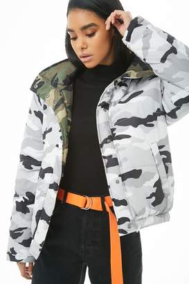 Forever 21 Reversible Hooded Camo Puffer Jacket