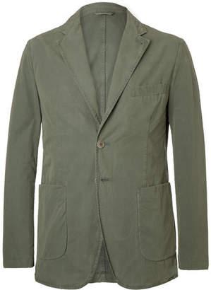 Aspesi Grey-Green Slim-Fit Unstructured Garment-Dyed Cotton Blazer