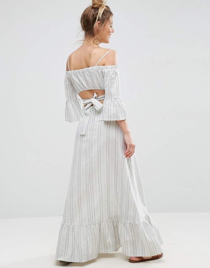 AsosASOS Open Back Maxi Dress in Natural Fibre Stripe