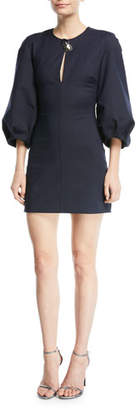 Cushnie et Ochs Rosario 3/4-Sleeve Fitted Mini Dress with Abstract Button Trim