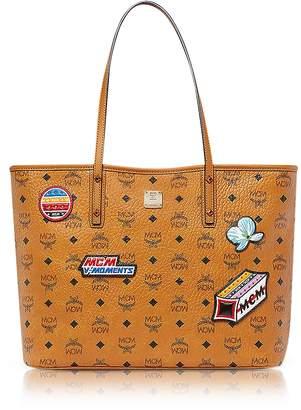 MCM Anya Victory Patch Visetos Cognac Top Zip Medium Tote Bag