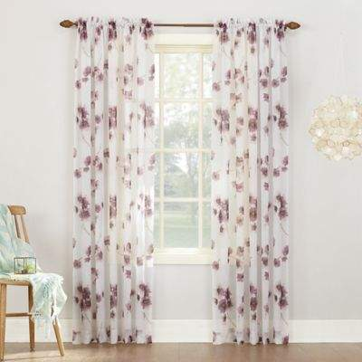 Keiko Floral 63-inch Rod Pocket Sheer Window Curtain Panel in Lavender