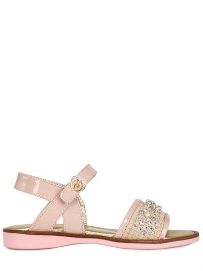 Miss Blumarine Patent Leather Sandal With Rhinestones