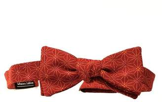 Blade + Blue Red Geometric Floral Print Cotton Bow Tie