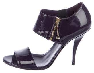 Gucci Patent Leather Ankle Cuff Sandals
