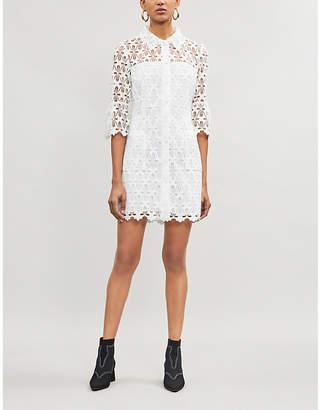 Sandro Embroidered-lace mini shirt dress