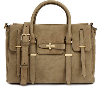 Rebecca Minkoff Taupe Suede Top Zip Jules Satchel Bag